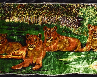 Rare Vintage Velvet Lions Wall hanging from the 70s