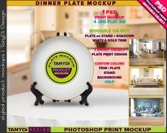 White Dinner Plate on Stand P6-2 | Photoshop Print Mockup | White Gold Trim | Kitchen & Living room table | Custom colors | Movable plate