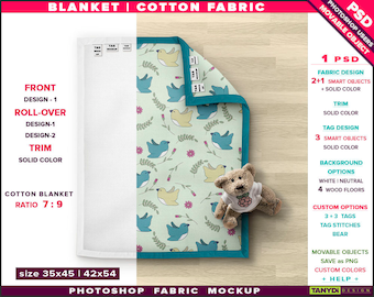 Blanket on Wood Floor | Photoshop Fabric Mockup | 35x45 Trim Roll-over Cotton Top Full Blanket | Tags Bear | Smart Object Custom colors