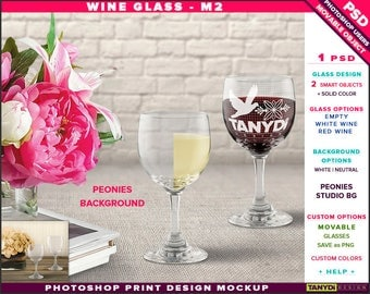 Wine Glass M-2 | Empty, White & Red Wine | Photoshop Print Mockup | Front view Glass and Peonies Background | Smart object Custom colors