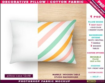 12x18 Decorative Pillow Cotton Fabric | Photoshop Fabric Mockup M2-1218-0 | Cushion on Marble Wooden Table | Smart Object Custom colors