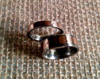 Melt Copper Titanium Ring.  4mm, 8mm Wide.