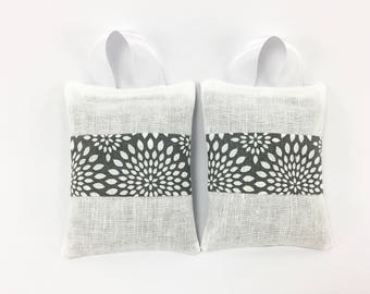 Lavender Sachets Set, Gray and White, Hanging Sachet with Ribbon, Medallion