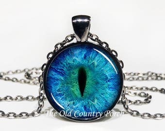 Blue Dragon Eye -Glass Pendant Necklace/Gift for him/fantasy art gift/Mystic dragon