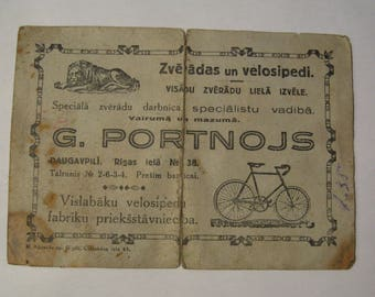 Vintage warranty card for buying a bicycle. Latvia 1939