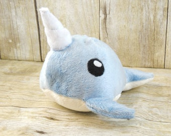 Blue Minky Narwhal Plush toy