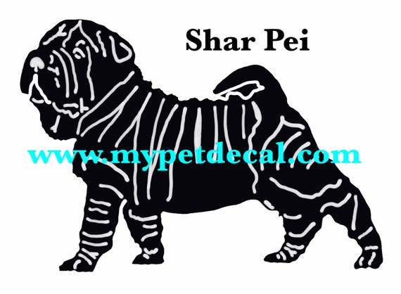 SHAR PEI decal | FREE shipping | decals for tumblers, cars, laptops, devices etc | wall decals upon request
