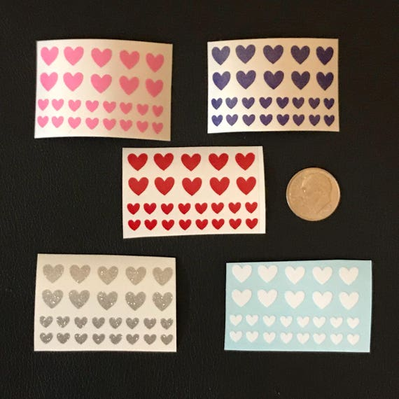 Heart Nail Decals - 52 pieces | Love Nail Decals | Heart Nail stickers | Nail Art | Hearts Nail Art