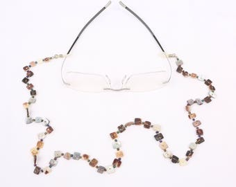 """1950's-60's Necklace Style Eye Glass Holders, Square White to Purple MOP, Jet Seed Beads w Rubber Loop Ends, Near MINT Cond., 26"""" Long"""