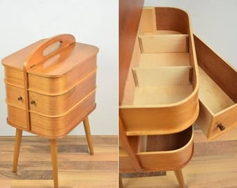 Rare Mid Century Sewing Box with Legs. Danish Modern. Teak finish. Wood. Panton Eames Era. Side Table. 1950s. 1960s