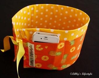 Pineapples Purse insert - Handbag organiser insert - Tropical style Purse organiser insert - Handmade Bag insert - Bag organiser pockets.