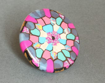 Delightful Colours Brooch - Polymer Clay Mandala Badge - Artisan - Handmade - Unique and Circular !