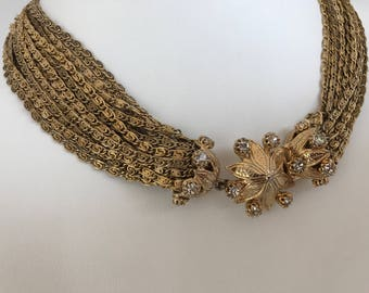 1960-70s Vintage Multi-Chain Choker Necklace, Multi-Strand Necklace, Rhinestone Flower Tongue Grove Clasp