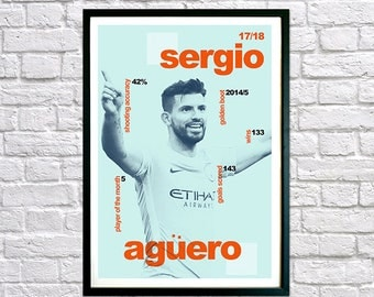 Sergio Aguero Framed Print for Boys Bedroom, Modernist Typography Poster, Childrens Bedroom Art, Man Cave Art featuring Man City Player