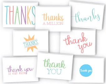 Everyday Colorful Thank You Cards - 48 Cards & Envelopes
