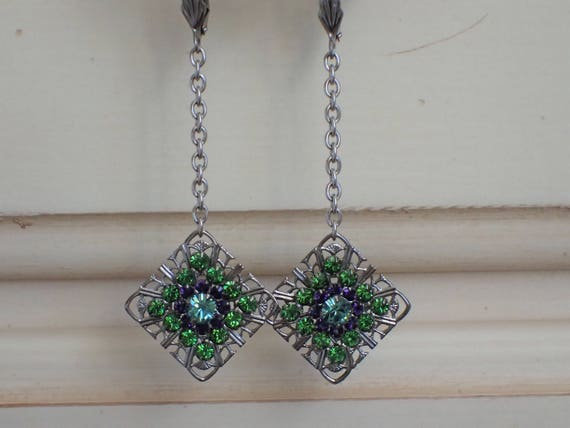Fern Green Swarovski Crystal Earrings, Silver