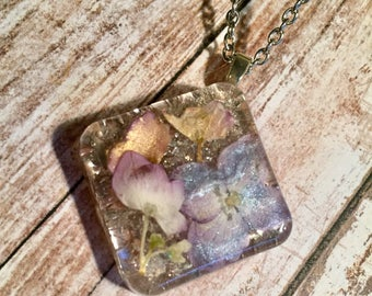 Real Hydrangeas Preserved in Resin Pendant with Glass Glitter Shards Background