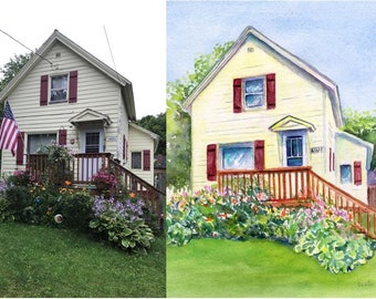 Custom House Portrait, Custom Home Painting, Original Watercolor, Church, B and B, Housewarming gift, Moving, new home, cottage, commission