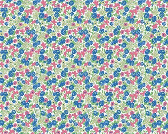 1/2 Yard  Mae Flowers by Lindsay Wilkes of Cottage Mama for Penny Rose Fabrics -6914 Blue Floral