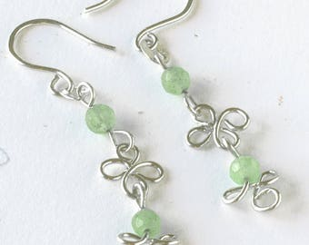 Clover Knot and Aventurine Link Earrings