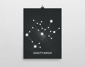 Sagittarius Constellation Poster Print, Ready to Ship, Size 11x14