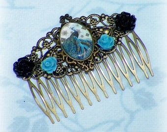 Gypsy Hair Comb Victorian Boho Blue Peacock Vintage Style Gothic Bridal Black Rose Steampunk Wedding Gothic Bohemian