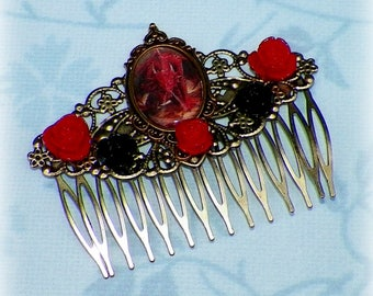 Victorian Hair Comb Gothic Dragon Red Black Vintage Style Gothic Bridal Boho Rose Steampunk Wedding Gothic Bohemian