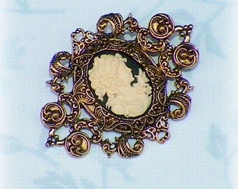 Cameo Victorian  Pin Brooch Black Classic Lady Gothic Vintage Style Steampunk Antique Gold Style