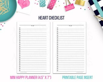 Mini HP: Heart Checklist • Printable Page Insert for MINI Happy Planner® sized Discbound or Ringbound Agendas, Organizers or Planners