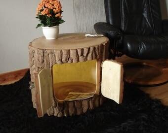 Wooden table oak barrels as side table