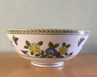 Darling vintage Sadek Andrea hand painted white porcelain bowl blue yellow butterflies flowers and gold leaf for tropical Old Florida home!