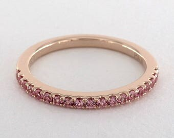 Pink Sapphire Half Way Band in 18kt Rose Gold, Pink sapphire wedding band, Pink sapphire wedding Ring, Stackable ring, Thin band, pink gold