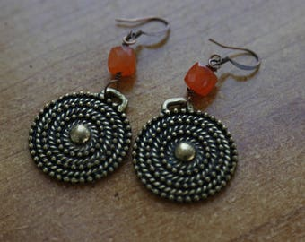 Bronze and orange earrings
