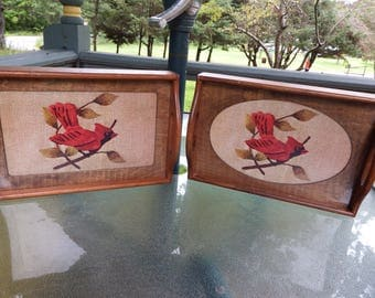 Set of (2) Three Mountaineers Needlepoint Trays Wood with Glass Front to Display Completed Needlepoint Cardinal Birds