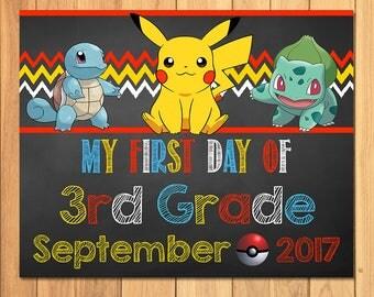 Pokemon First Day of 3rd Grade Sign September Chalkboard * Pokemon Back to School Sign * Pikachu Photo Prop Sign * Pokemon Printable