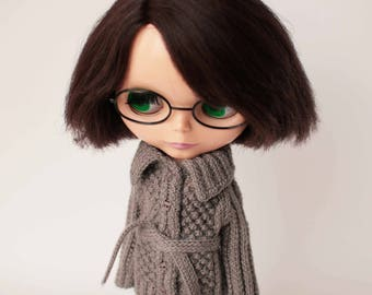 Blythe doll clothes, Gray cardigan with belt for Blythe doll, Hand knitted outfit for 12 inch doll, Grey vest for Blythe doll, Gray sweater