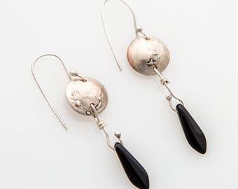 Silver & Copper Beaded Earring