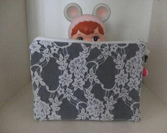 Denim and lace - case makeup case