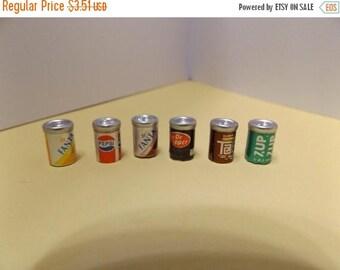 "Sale Dollhouse Miniature Mini Soda Cans 1/2"" tall Pepsi 7up dr pepper 1/12 scale"