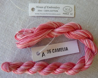 Beaded wire No. 12 HOUSE OF EMBROIDERY collar 35 has Camellia