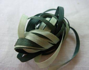 Ribbon silk degraded green 4mm