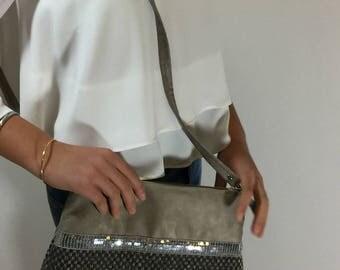 bag shoulder strap, suede and linen taupe, silver glitter