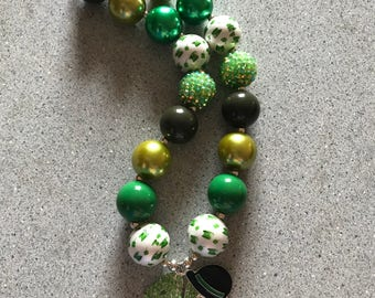 St. Patty's Day chunky bubblegum necklace
