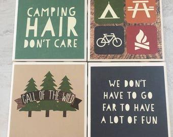 Camping Coasters, Adventure Coasters, Mountain Decor, Mountains Decor, Camping Decor, Tile Coasters, Ceramic Coasters, Coaster, Coasters