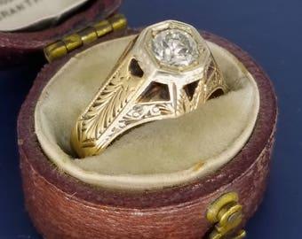 1900s Arts & Crafts Period Ring Diamond 14k Gold