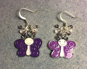 Silly purple and white enamel butterfly charm dangle earrings adorned with tiny dangling purple and white Chinese crystal beads.