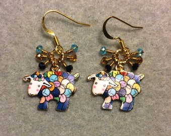 Colorful spotted enamel sheep charm earrings adorned with tiny dangling dark blue, turquoise and purple Chinese crystal beads.
