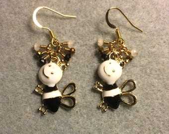 Black and white enamel silly honeybee charm earrings adorned with tiny dangling black, white and gold Chinese crystal beads.