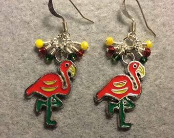 Red, green, and yellow enamel flamingo charm earrings adorned with tiny dangling red, green, and yellow Chinese crystal beads.