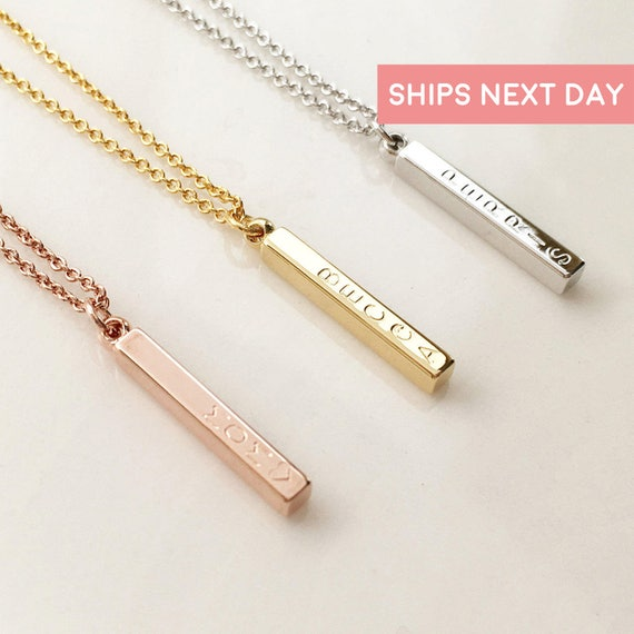 Custom name vertical bar necklace personalized gift like this item aloadofball Images